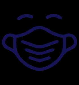 Das Bild zeigt einen Icon eines Menschen mit Maske und lächelnden Augen für die Corona Infos in Düsseldorf. MVZ für Endokrinologie Düsseldorf Essen Mönchengladbach Bonn