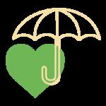 Das Bild zeigt einen Herz-Regenschirm Icon als Metapher für die Präventivmedizin des Endomedicums. Endokrinologie Düsseldorf Essen Mönchengladbach Bonn